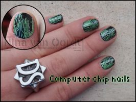 Computer chip nails by Ninails