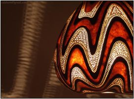Hanging gourd lamp IV night 4 by Calabarte