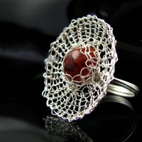 Fine silver wire knit spider web ring by CatsWire