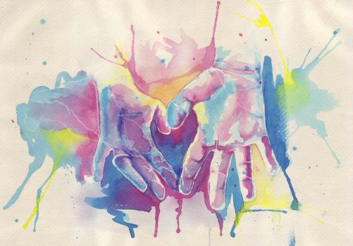 Watercolour Hands of love by GriffonGore