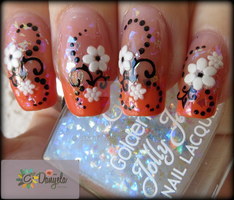 Orange french manicure and spring flowers by Danijella