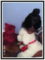 white plushie dog and red tedy by xneeneex