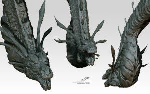 zSHIN GHIDORAH concept alternate head views 2 by dopepope