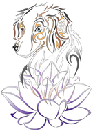 Dog and Lotus Tattoo commission. by MonkeydanceGuy