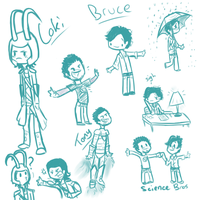 Loki, Bruce, and Tony doodles by DuskofGold5