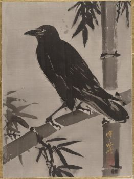 Kawanabe Kysai  - Crow on a Bamboo Branch by ArtLovers68