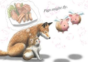 Fox, Cat and Pig by SheltieWolf