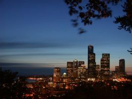 seattle downtown night by crazytmac