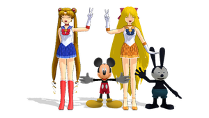 Sailor Moon, Mickey, Sailor Venus and Oswald by ElMarcosLuckydel96