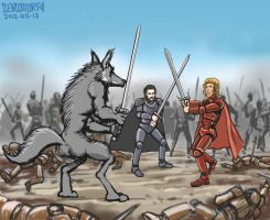 Grey Wind and Robb vs Jaime by zenzmurfy