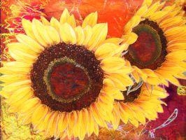 Sunflowers with Red by Tackon