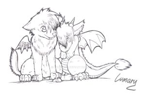 The wolf and the dragon x3 by Lumary92
