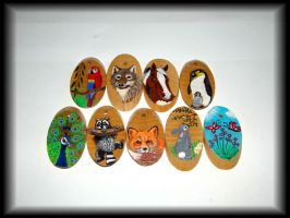 Hand painted wood pendants by jasmin7
