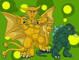 Godzilla and King Ghidorah by Natsuakai