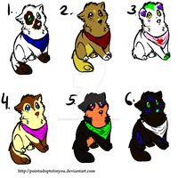 Puppies in bandanas adoptables (Open) by cookiesandcheesecake