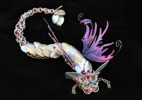 Rose and Silver Chainmaille Faerie Dragon by SerenFey