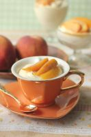 Almond Bavarian with White Wine Peaches by StrangeWonderland