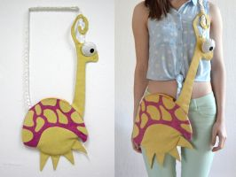 Pink and Yellow Fantasy Turtle Bag by vannesdesigns