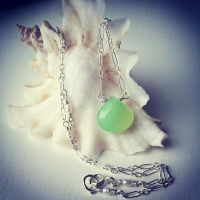 Honeydew Chalcedony, Tiny Pearls Mermaid Necklace~ by QuintessentialArts