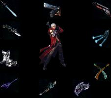 Dante with weapons from DMC3 by Gunblade7303