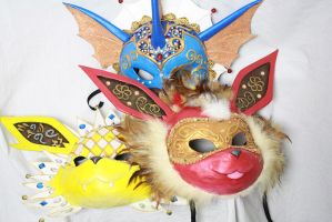 Three Eevee-lutions Carnival Masks by Cultureshock007