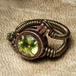 Steampunk Green Peridot ring by CatherinetteRings