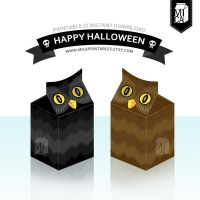 Halloween Party Printable - Favor Box - Night Owl by MicaPrintables
