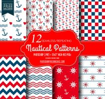 Red and Blue Nautical Patterns by fiftyfivepixels