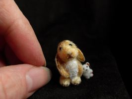 Miniature OOAK Sculpt RABBIT + Teddy, 1inch/2.5cm by TreasuredByU