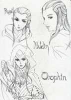 Rumil, Haldir and Orophin by cloudstrifejen