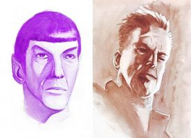 Spock and Hartigan - Watercolor Exercise by BrunoBull