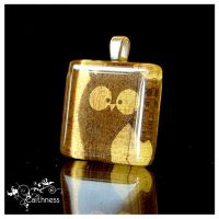 Glass tile pendant- brown owl by caithness-shop