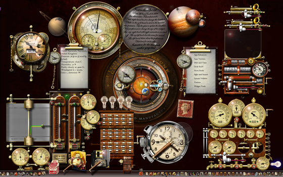 Steampunk XP desktop using widgets and rocketdock by yereverluvinuncleber