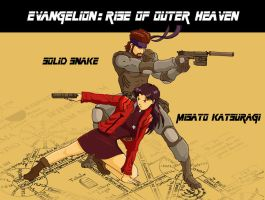 Snake and Misato, guns drawn by DevilBoss