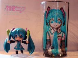 Hatsune Miku Drinking Glass by MeganTheartist