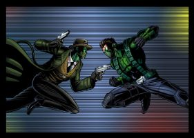 Green Kaoz vs Hornet colored by spidey0318