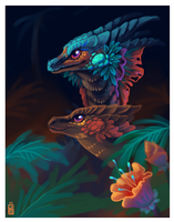 Tropical Dragon pair by griffsnuff