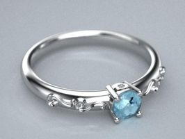 swirly aquamarine thin ladies ring by lupusk9