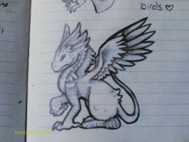 Gryphon-Dragon thing-Notebook Doodles by Mdragonflame