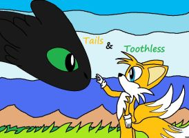frist ever Tails and Toothless by RandomFoxFan