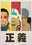 One Piece Minimalist Poster: Faces of Justice by MinimallyOnePiece