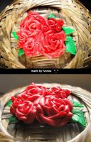 Brooch fimo Roses by Ivonea