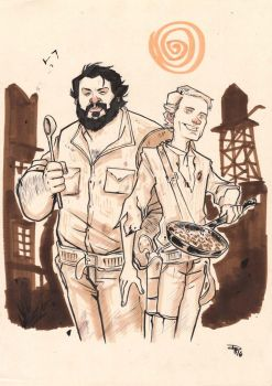 Bud Spencer and Terence Hill - commission by DenisM79