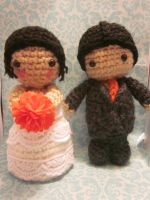 Custom Bride and Groom Amigurumi Cake Toppers by Spudsstitches