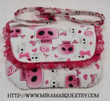 Skull and Hearts Messenger Bag by miramasque