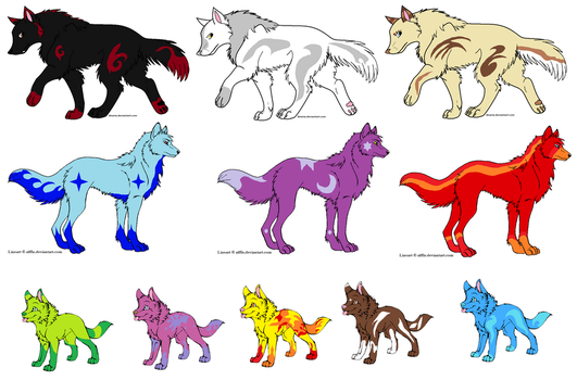 Moor Wolf Adoptables by Shaddowluva