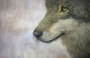 Original Pastel WOLF Painting. Available. by peeched