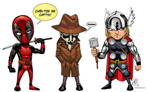 Chibi Deadpool and Friends by Vulture34