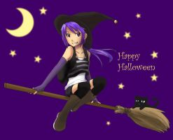 Happy Halloween: Purple witch by qianying
