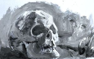 Observational Painting - Skull by Mish87